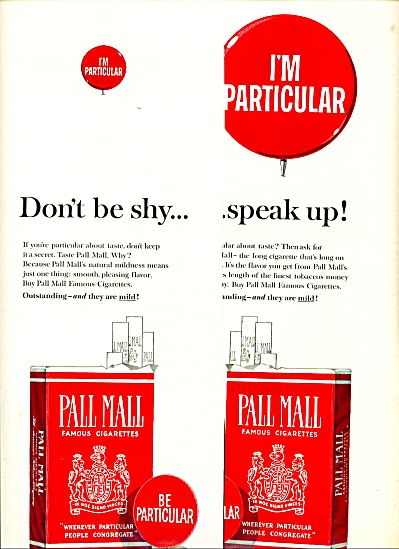 Pall Mall Cigarettes Ad - 1965