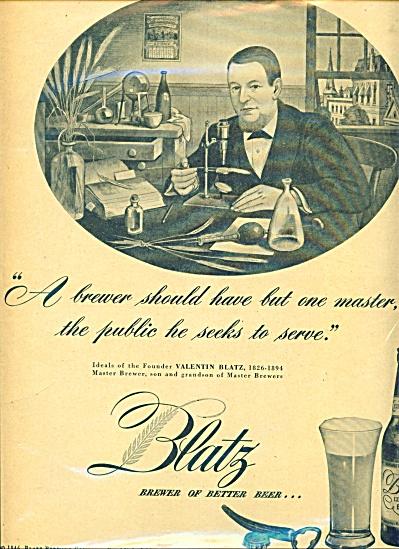 1940'S BLATZ BEER AD Valentin - ONE MASTER (Image1)