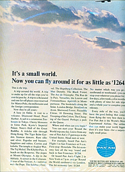 1965 Pan Am airlines  ad   Small World Fly (Image1)