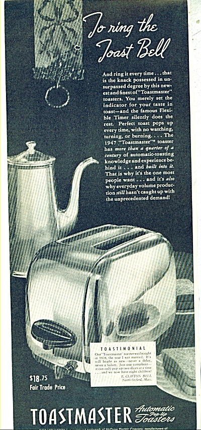 Toastmaster Automatic Toaster Ad - 1947