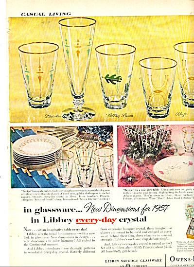 1956 LIBBEY Glasses GLASS AD Staccato Adiago (Image1)