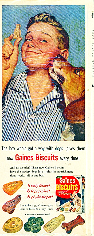 Gaines Biscuits for dogs ad - 1957 (Image1)