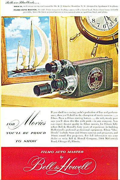 1947 FILMO AUTO MASTER CAMERA BELL  HOWELL AD (Image1)