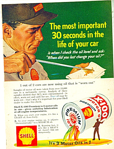 Shell X-100 motor oil  ad Service Attendant (Image1)