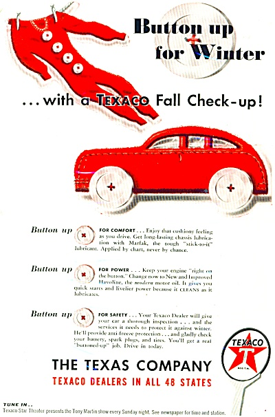 1947 TEXACO OIL LONG JOHNS Button UP AD (Image1)