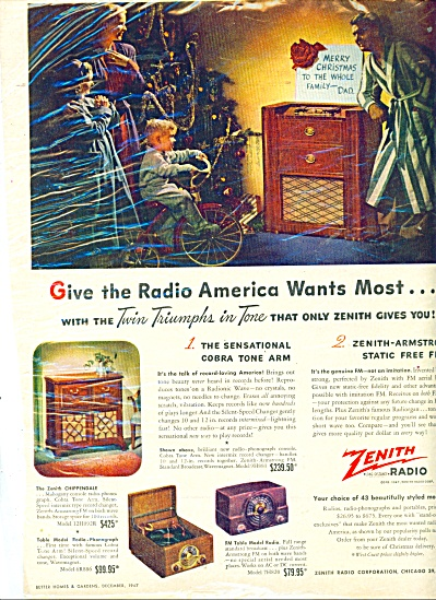1947 Zenith Radio 3 Models Christmas Ad