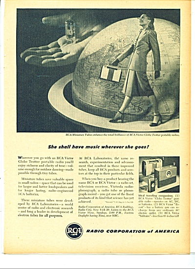 1947 RCA RADIO AD Globe Trotter Woman (Image1)