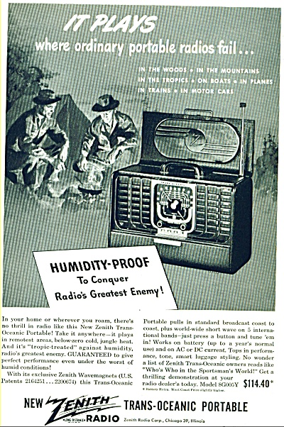 1947 Zenith Radio Trans Oceanic Portable AD (Image1)