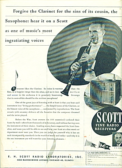 1945 Scott Fine Radio Receivers Ad Clarinet