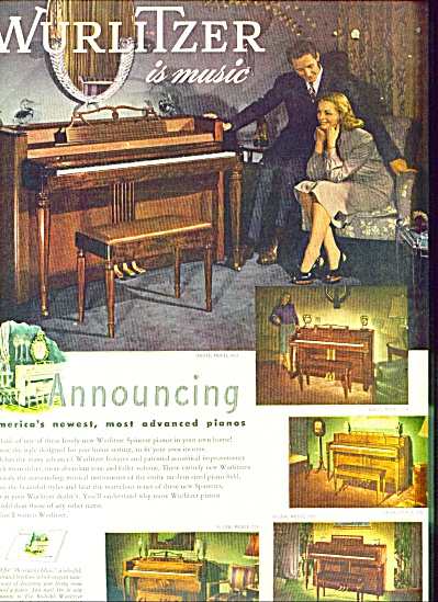 Wurlitzer is Music ad.   1947 (Image1)