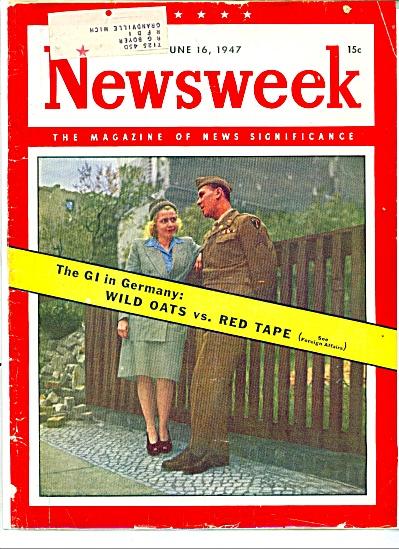 Cover of Newsweek magazine   - 1947 (Image1)