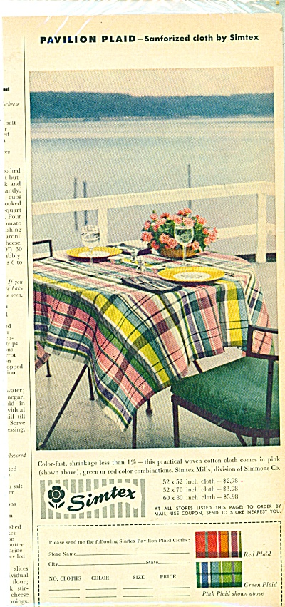 1953 SIMEX Pavilion Plaid TABLECLOTH AD Wrigh (Image1)