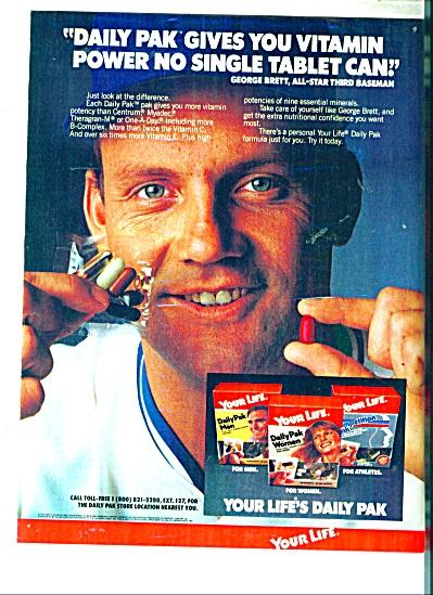 1983 Life's Daily Pak  ad GEORGE BRETT (Image1)