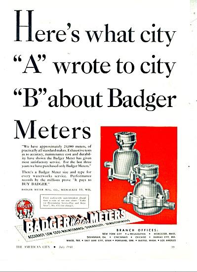 Badger water meters ad - 1948 (Image1)