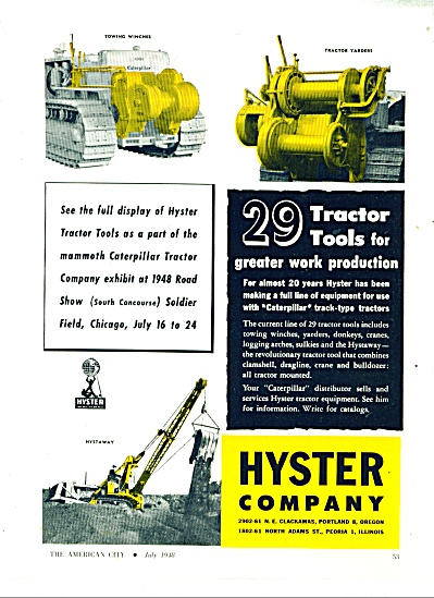 1948 Hyster Co Tractor Tools Ad Caterpillar