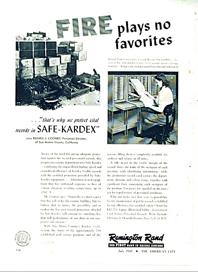 1948 Remington Rand Kardex FIRE Favorites AD (Image1)