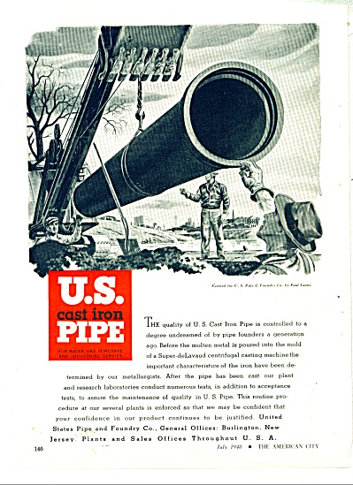 U.S. Cast Iron Pipe ad - 1948 (Image1)