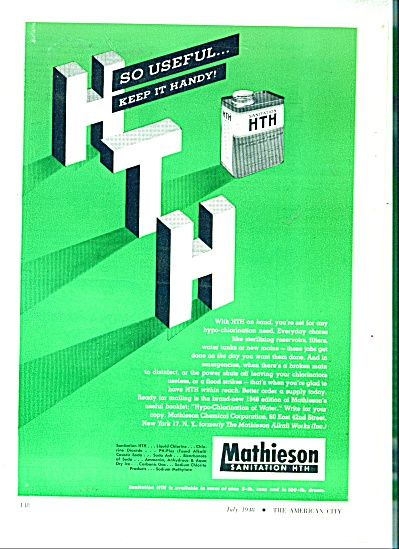Mathieson Sanitation HTH  ad  1948 (Image1)