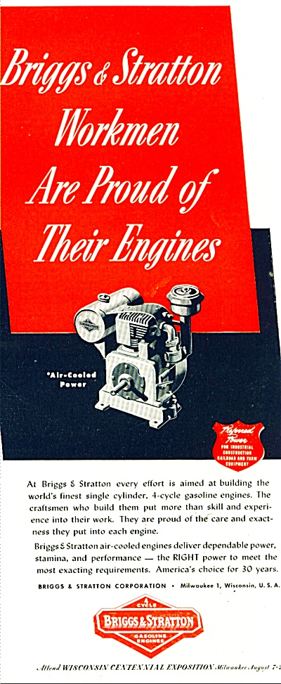 Briggs & Stratton Gasoline engines ad  1948 (Image1)