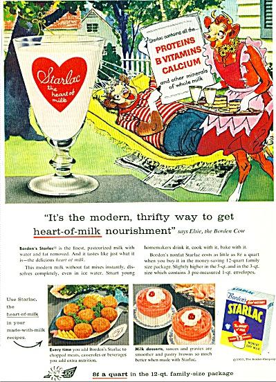 Borden's Starlac nonfat dry milk ad - 1957 (Image1)