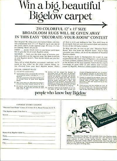 Bigelow carpet contest ad -  1963 (Image1)
