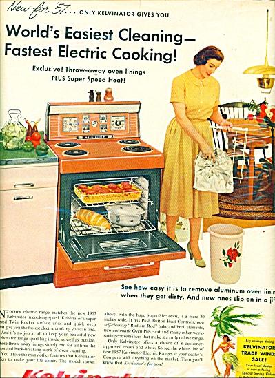 1957 KELVINATOR Electric Range Stove AD RETRO (Image1)