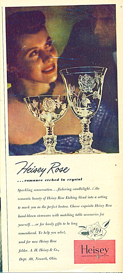 1949 Heisey Rose Glass Glassware Ad
