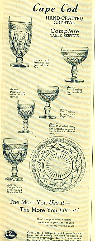Cape Cod hand craft crystal ad -  1949 (Image1)