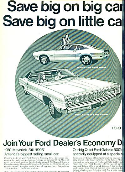 1970 FORD GALAXIE 500 - Maverick CAR AD Origi (Image1)