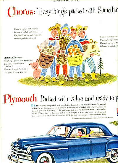 1950 PLYMOUTH Car AD - SONG Packed with SOMET (Image1)