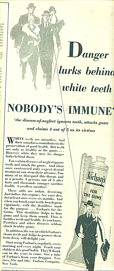 1929 Forhan's for the gums ad DANGER LURKS (Image1)