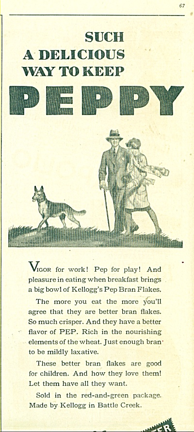 Kellogg's Pep Bran Flakes 1929 Artwork