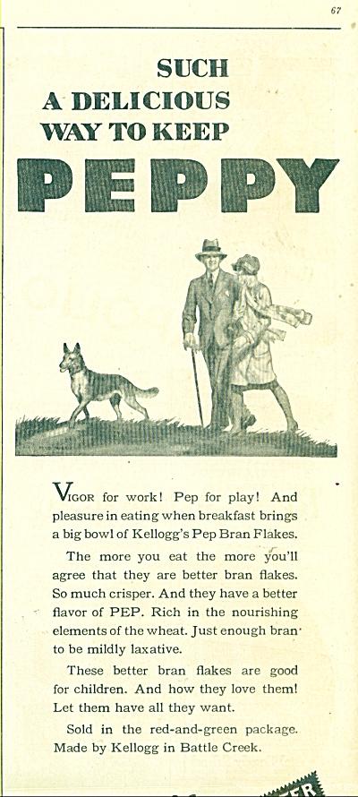 Kellogg's Pep bran flakes  1929 ARTWORK (Image1)