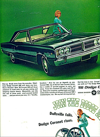1966 DODGE CORONET Car AD JOIN the REBELLION (Image1)