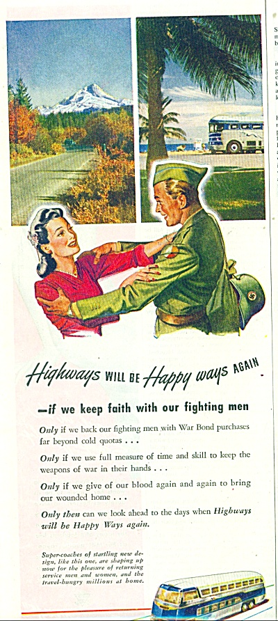 1945 Greyhound Bus AD SOLDIER GOES TO WAR (Image1)