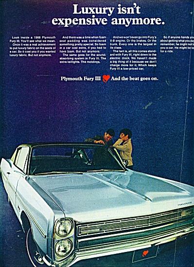 Plymouth Fury automobiler ad 1968 V8 (Image1)