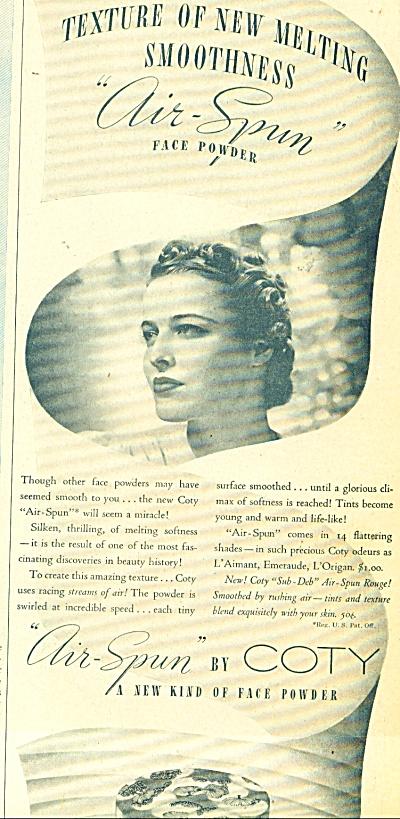 1937 COTY Air Spun FACE POWDER AD (Image1)
