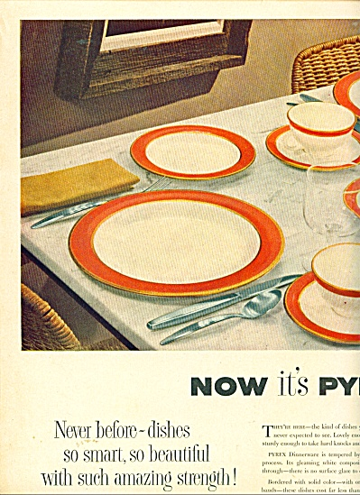 1953 PYREX Glass DINNERWARE AD Flamingo Lime (Image1)