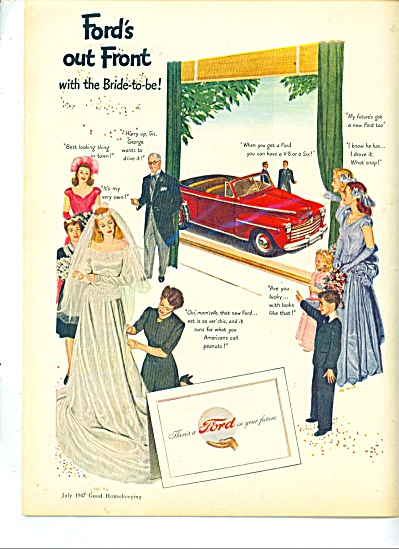 1947 FORD MOTOR Car AD BRIDE AL MOORE ART (Image1)