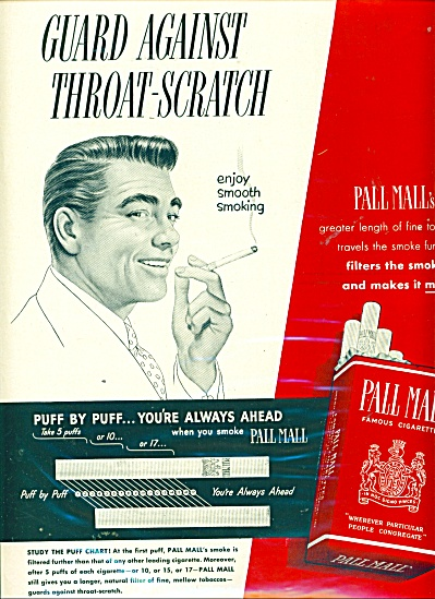 1950 Pall Mall Famous cigarettes AD PUFF BY . (Image1)