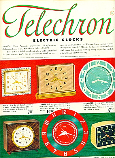 Telechron electric clocks ad (Image1)