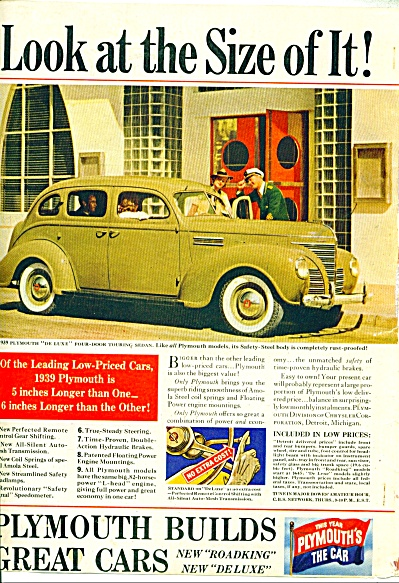 Plymouth builds great cars ad  1939 (Image1)