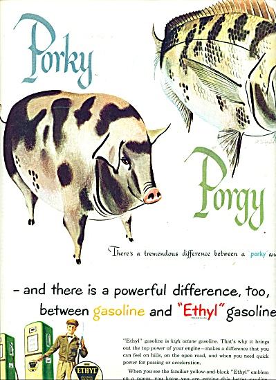 1950 Ethyl Gasoline ad   - A. SINGER ART (Image1)