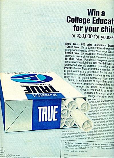 True cigarettes contest ad (Image1)