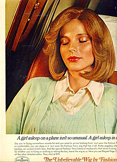 1970's Ad - Unbelievable Wig By Fashion Tress