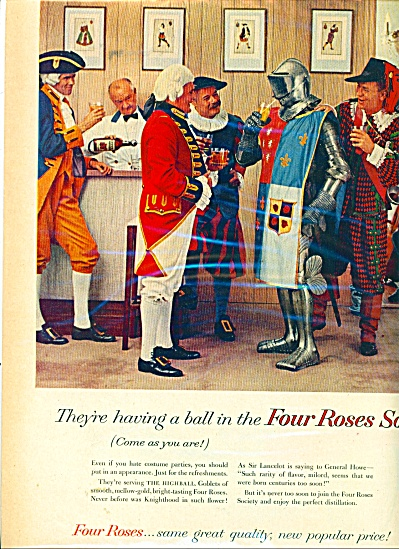 1958 FOUR ROSES Whiskey AD Lancelot Knights (Image1)
