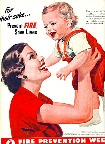 1950 FIRE PREVENTION WEEK Ad For Their Sake S (Image1)