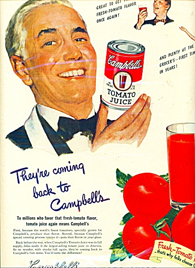 Campbell's Tomato juice ad - 1949 (Image1)