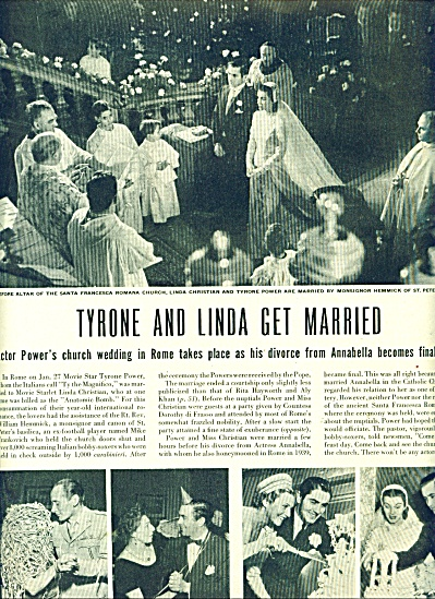 Marriage of Tyrone Power and Linda Christian (Image1)
