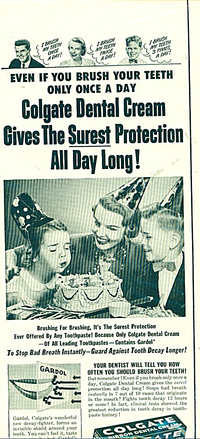 Colgate Ribbon Dental Cream Ad Vintage Party